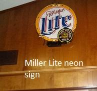 Miller Light neon sign