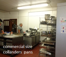 commercial size collandars and pans