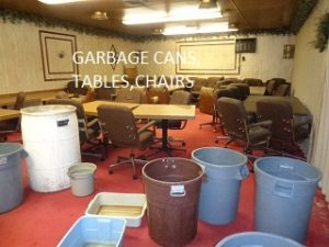 garbage cans, tables, chairs