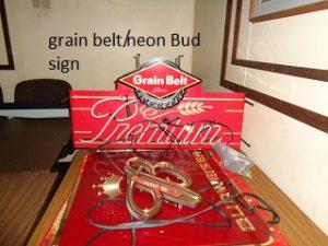 grain belt neon and Budweiser signs
