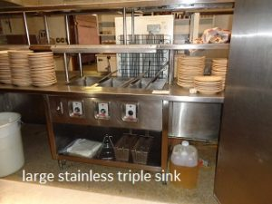 large stainless triple sink